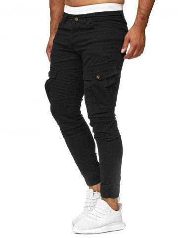 Solid Color Pleated Flap Pocket Casual Jogger Pants
