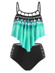 Leaf Print Flounce Cami High Waisted Tankini Swimwear -