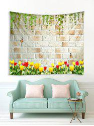 Branch Flower Brick Wall Print Removable Wall Tapestry -