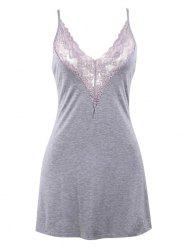 Plus Size Lace Insert Backless Babydoll -