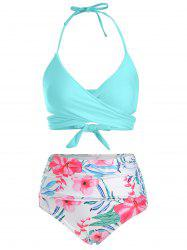Floral Print Ruched Wrap Bikini Swimsuit -