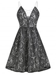 Plunging Neck Criss Cross Lace Flare Dress -