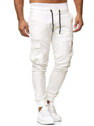 Solid Color Applique Side Flap Pocket Casual Jogger Pants -