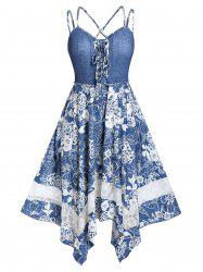 Plus Size Handkerchief Lace Up Strappy Floral Midi Dress -