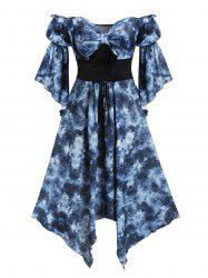 Plus Size Off Shoulder Front Knot Floral Handkerchief Midi Dress -