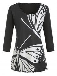 Plus Size Butterfly Print Graphic T-shirt -