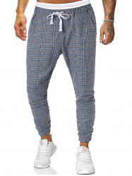 Houndstooth Plaid Print Casual Jogger Pants -