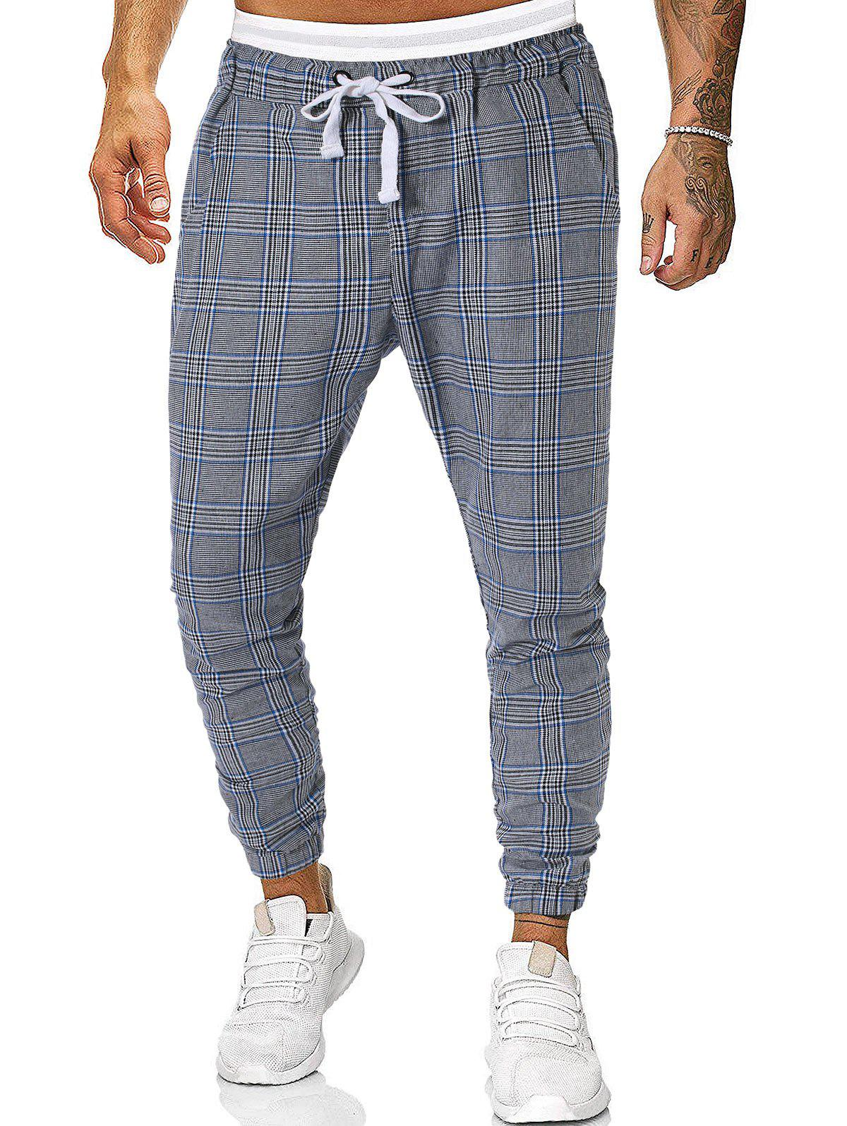 Online Houndstooth Plaid Print Casual Jogger Pants