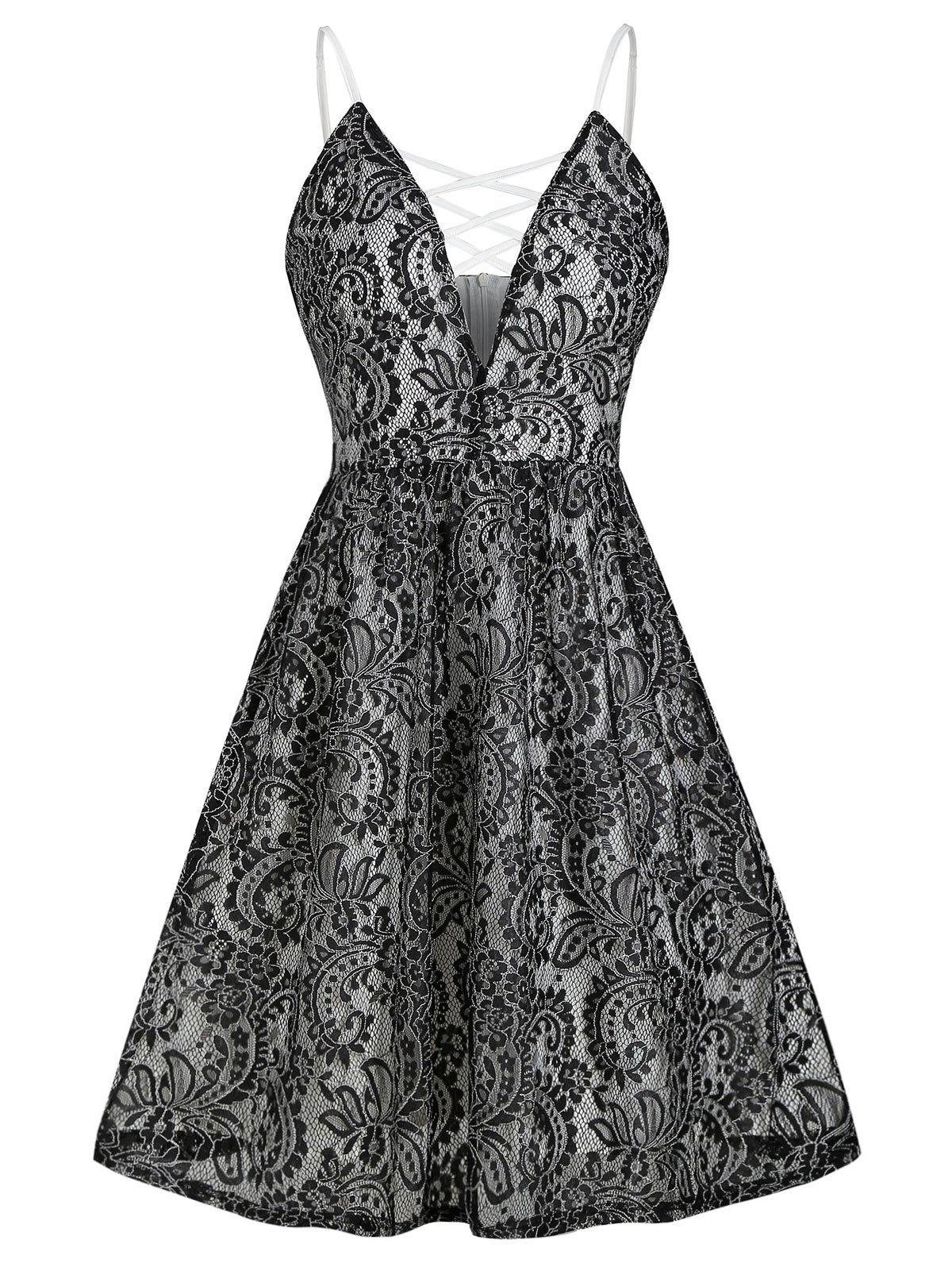 Cheap Plunging Neck Criss Cross Lace Flare Dress