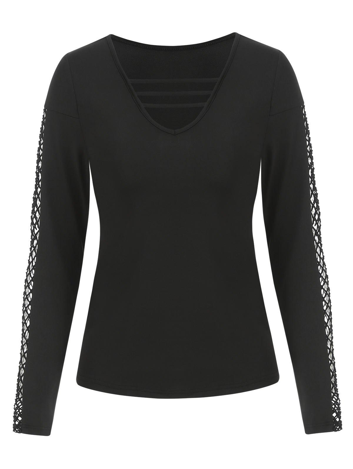 Chic Long Sleeve Lattice Fishnet Insert T-shirt