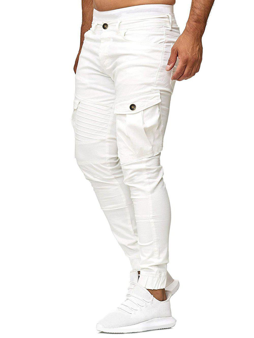 Hot Solid Color Pleated Flap Pocket Casual Jogger Pants