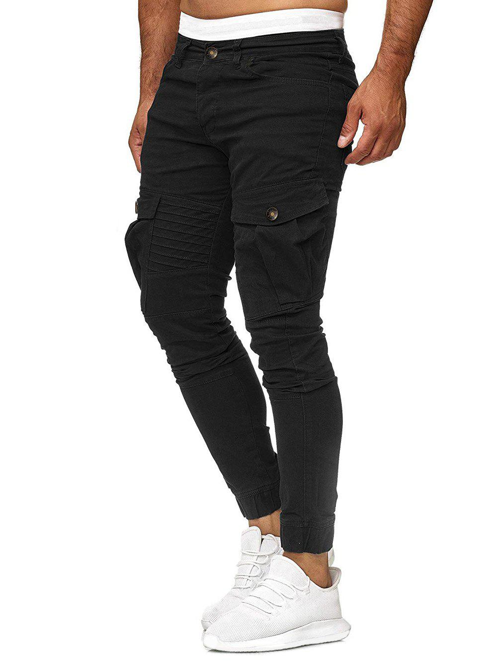 Shop Solid Color Pleated Flap Pocket Casual Jogger Pants