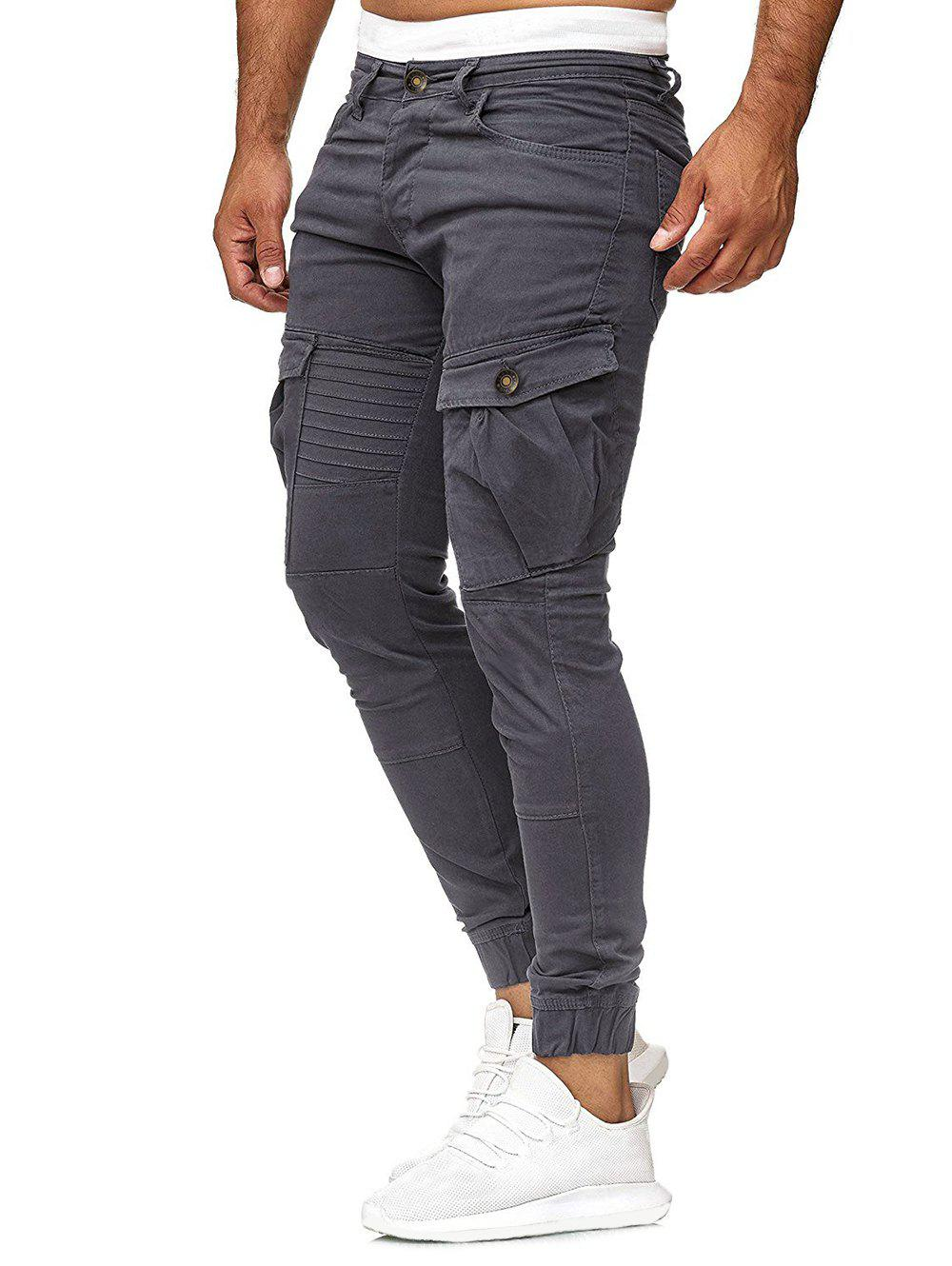 Fancy Solid Color Pleated Flap Pocket Casual Jogger Pants