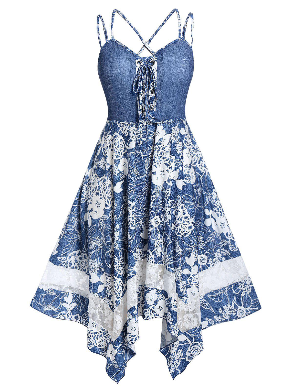 Best Plus Size Handkerchief Lace Up Strappy Floral Midi Dress
