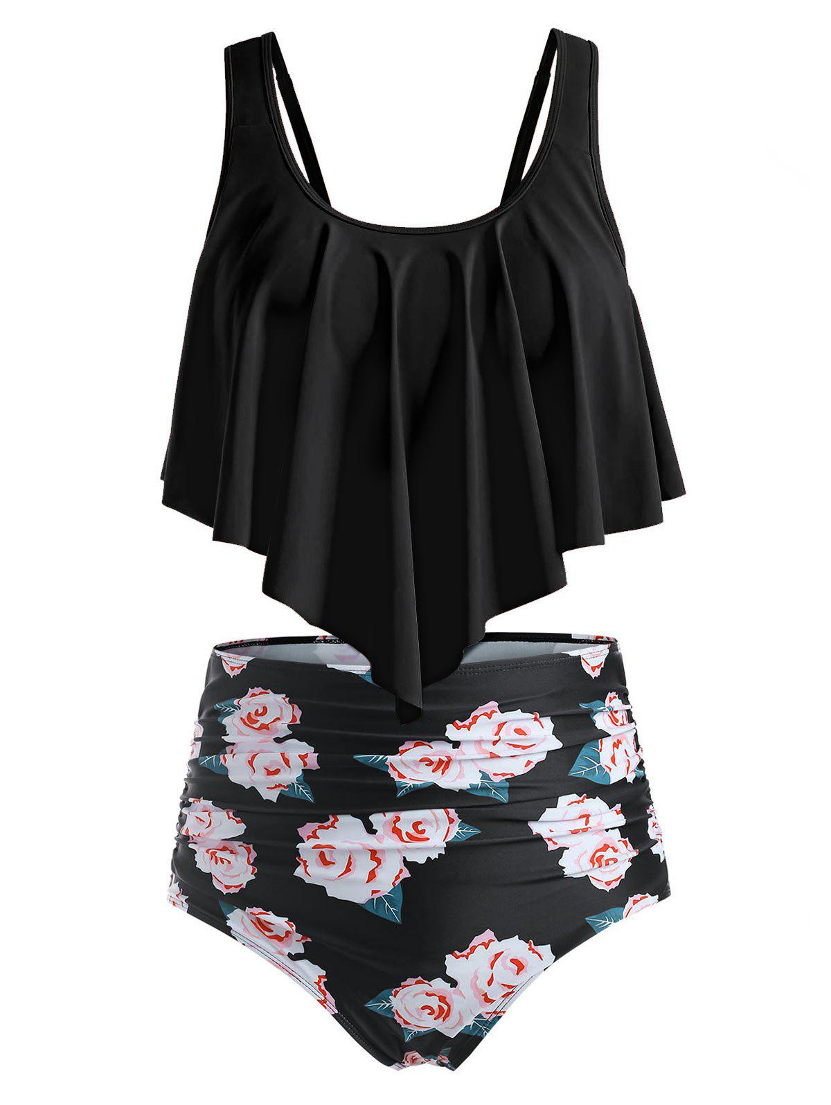 Hot Plus Size Floral Leaf Ruched High Waisted Tankini Swimsuit