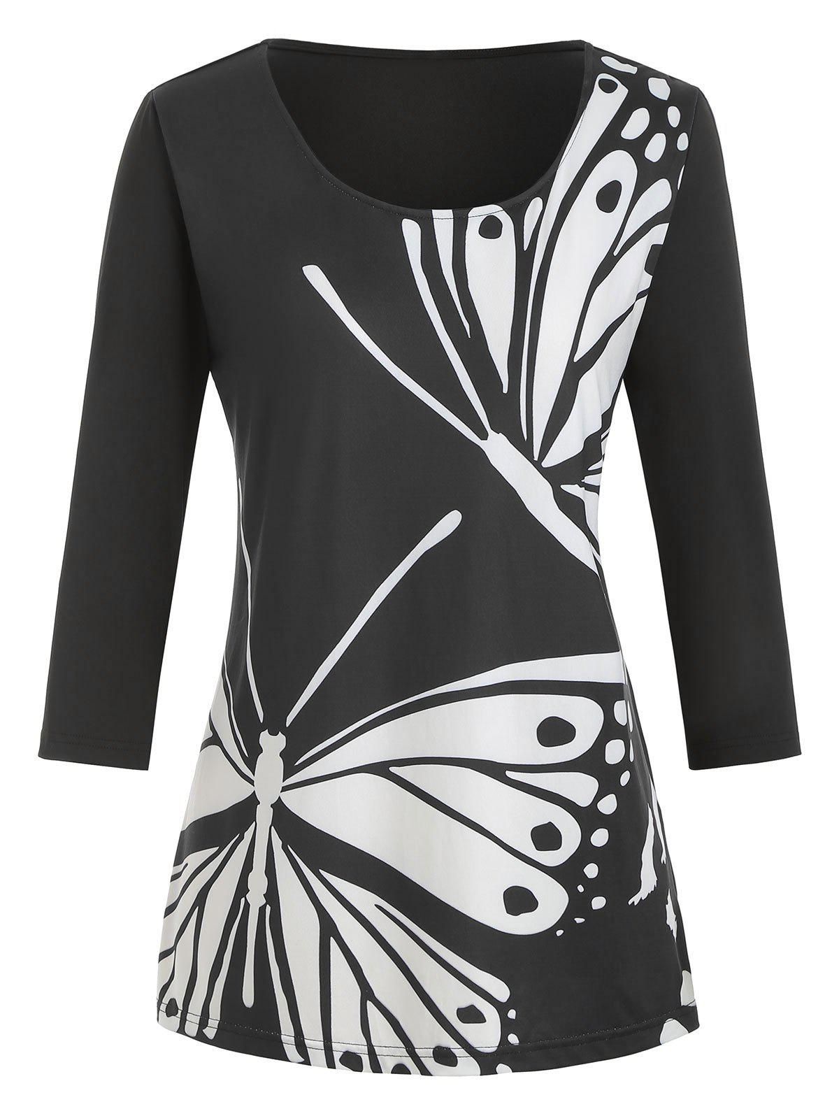 Trendy Plus Size Butterfly Print Graphic T-shirt