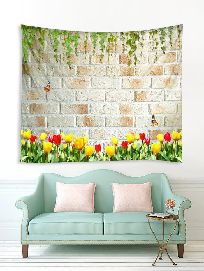 Outfits Branch Flower Brick Wall Print Removable Wall Tapestry