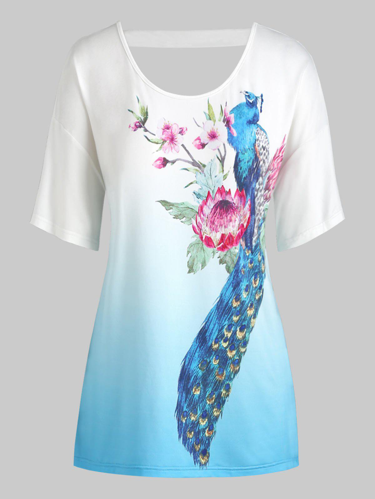 Plus Size Peacock Flower Print Criss Cross Ombre Tee Rosegal