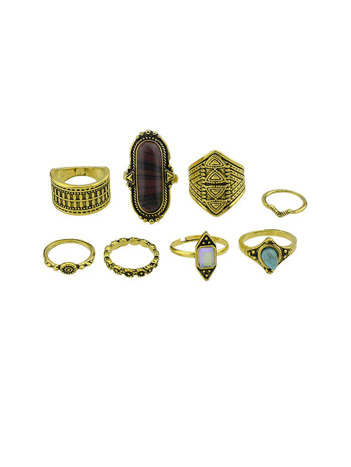 Latest Retro Wide Artificial Gemstone Engraved Ring Set