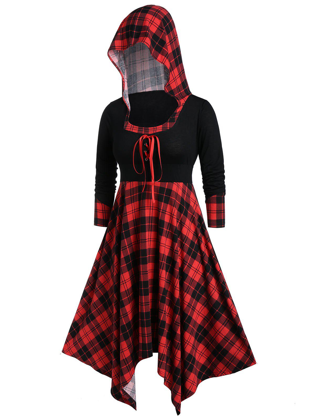 Hot Plus Size Handkerchief Hooded Plaid Midi Dress