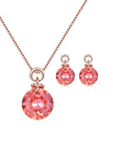 Round Faux Crystal Necklace Earrings Set