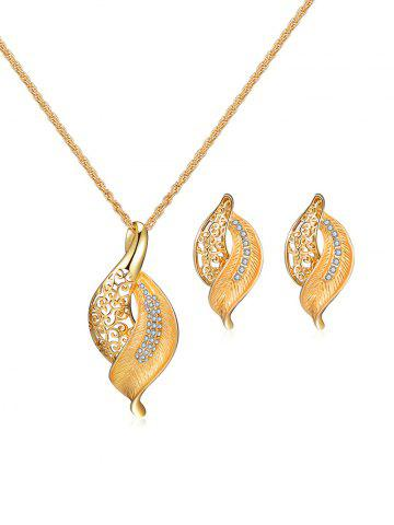 Hollow Leaf Rhinestone Necklace Earrings Set