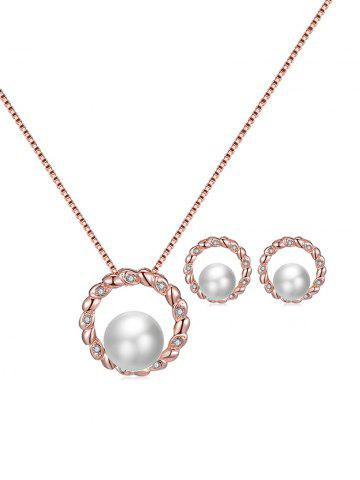 Round Faux Pearl Rhinestone Necklace Earrings Set