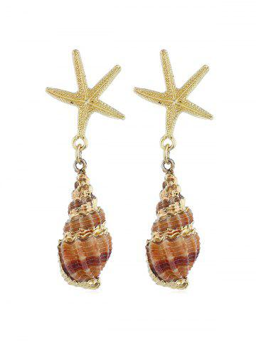 Sea Snail Shape Sea Star Dangle Earrings