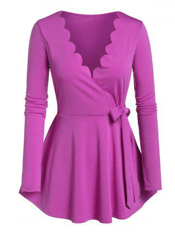 Plus Size Scalloped Knotted Surplice A Line Tee - PURPLE - M