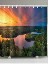 Sunset Forest Lake Print Waterproof Bathroom Shower Curtain -