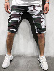 Camouflage Print Side Flap Pocket Casual Shorts -
