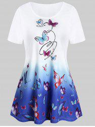 Ombre Butterfly Print Tunic T Shirt -