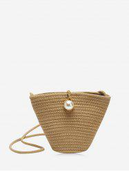 Faux Pearl Decoration Straw Bucket Bag -