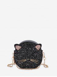 Glitter Animal Design Round Crossbody Bag -