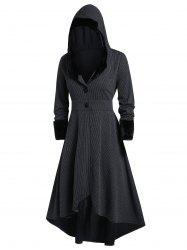 Plus Size Gothic Lolita Hooded High Low Coat -