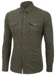 Solid Color Long Sleeves Cargo Shirt -