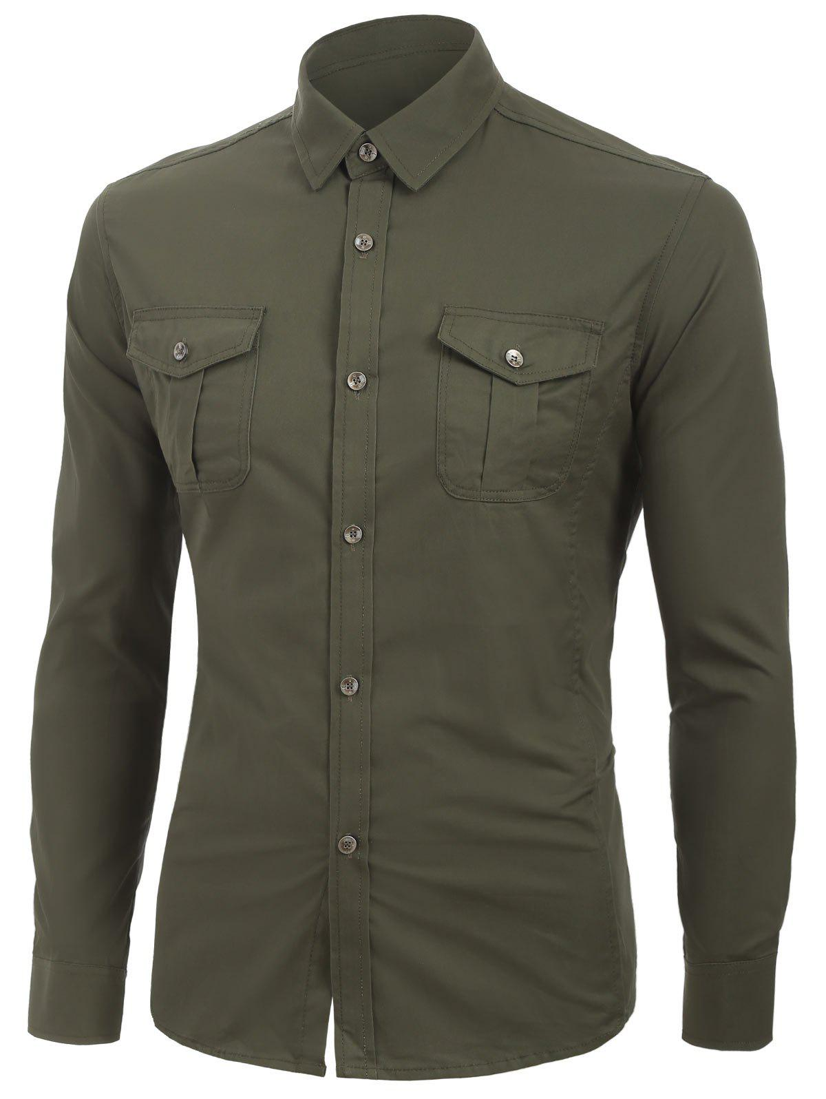 Buy Solid Color Long Sleeves Cargo Shirt