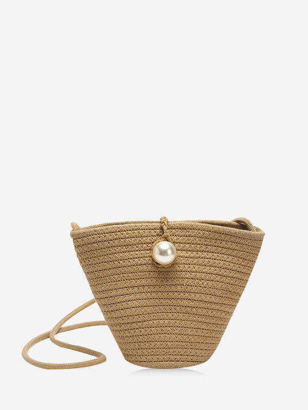 New Faux Pearl Decoration Straw Bucket Bag