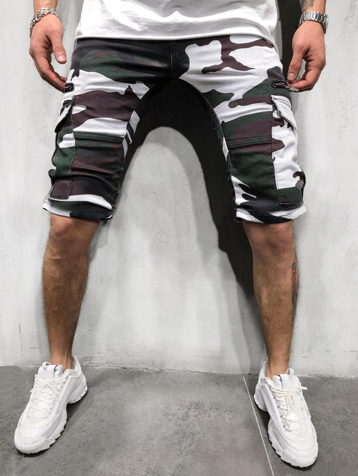 Best Camouflage Print Side Flap Pocket Casual Shorts