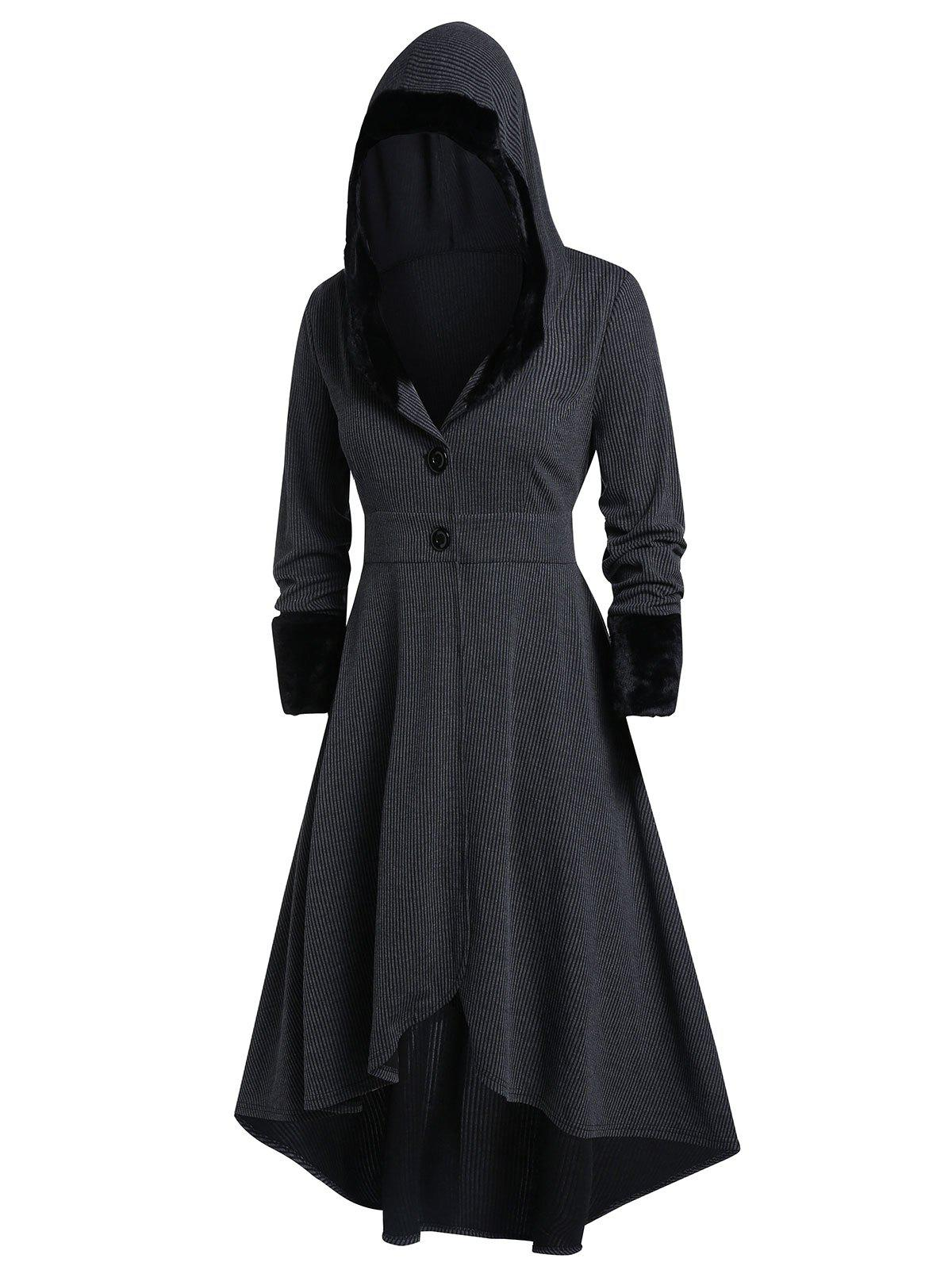Shop Plus Size Gothic Lolita Hooded High Low Coat