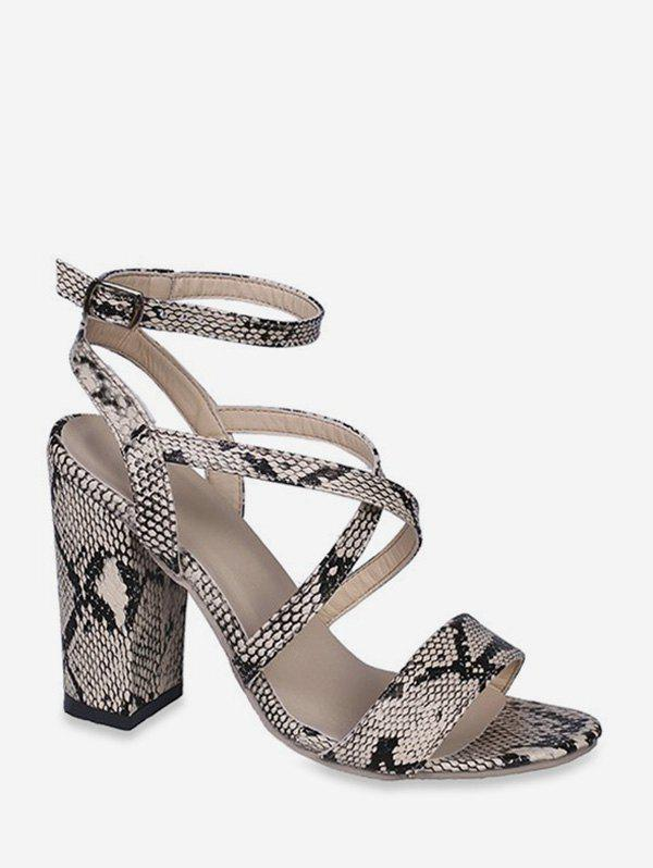Outfits Snakeskin Pattern Chunky Heel Sandals