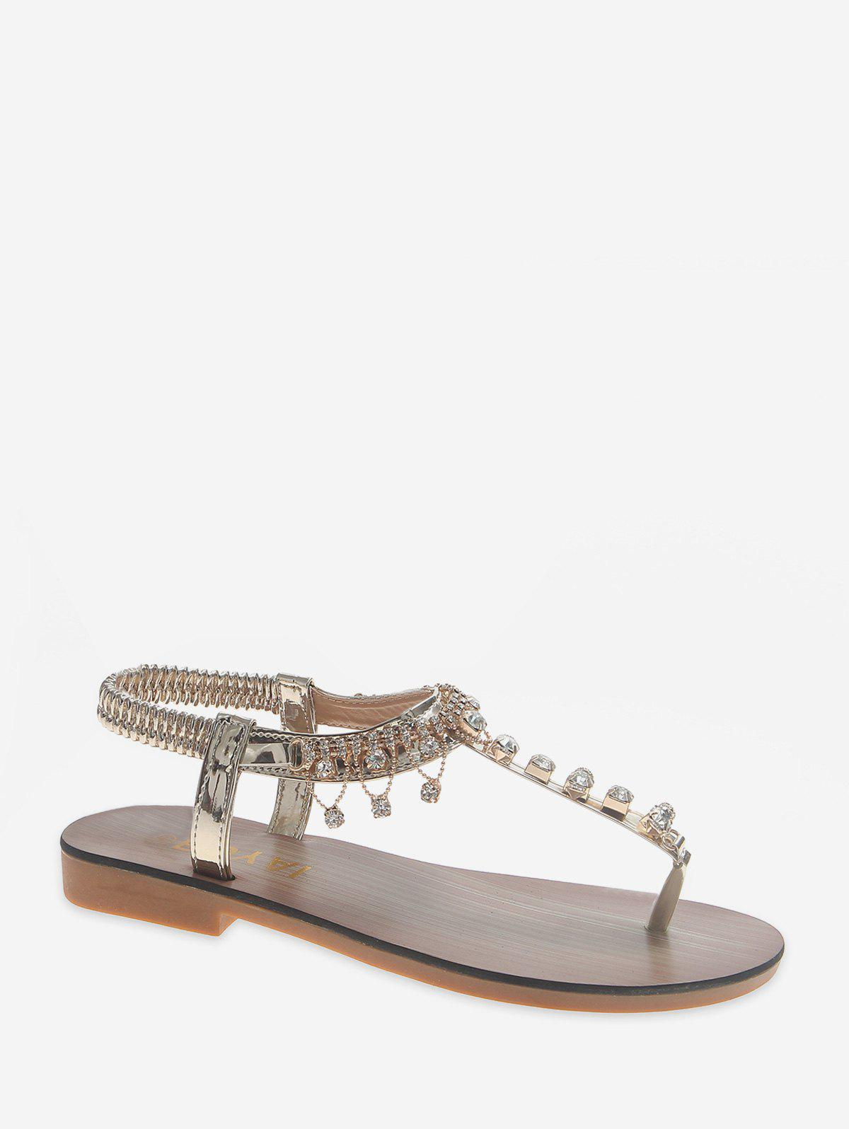 Unique Rhinestone Design Toe Clip Sandals