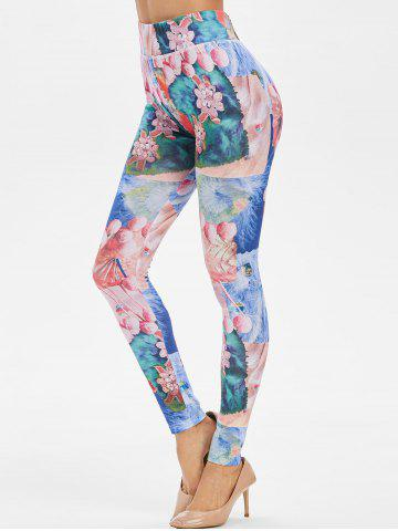 Skinny Patchwork Print High Waisted Leggings - 2xl MULTI-A