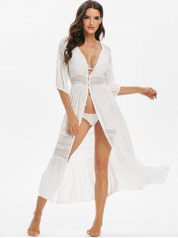Lace Insert Button Through Flounce Cover-up Dress