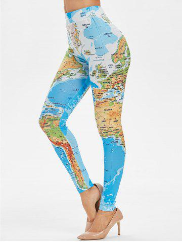 Skinny World Map Print High Waisted Leggings - M SILK BLUE