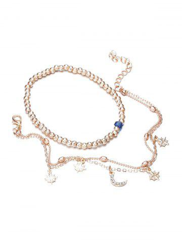 2Pcs Beaded Moon Star Layers Anklet Set