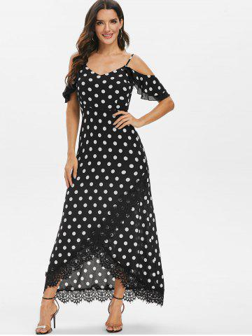 Polka Dot Lace Panel Asymmetrical Dress