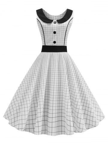 Plaid Piping Button Peter Pan Collar Vintage Dress