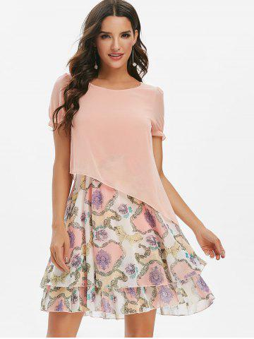 Printed Overlay Short Sleeves Chiffon Dress