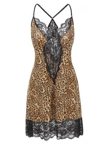 Leopard Lace Hem See Through Plus Size Babydoll